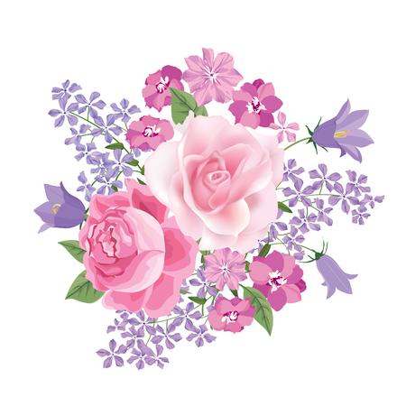Bouquet de fleurs. Floral frame. Épanouir carte de voeux. La floraison des fleurs isolé sur fond blanc Banque d'images - 46921966
