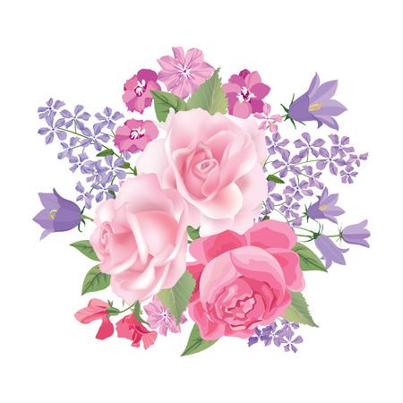rosas rosadas: Ramo de la flor. Marco floral. Flourish tarjeta de felicitaci�n. Blooming flores aisladas sobre fondo blanco Vectores