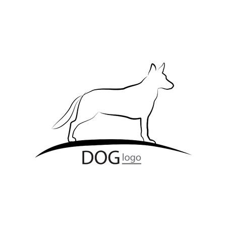 wagging: Dog symbol. Pet design. Dog standing silhouette