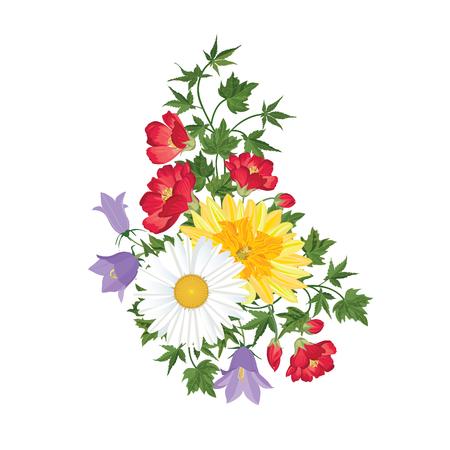 Boeket bloemen. Bloemen frame. Bloeien wenskaart. Bloeiende bloemen op een witte achtergrond