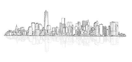 panoramic view: Architectural buildings. City panoramic view. City scene vector sketch. Urban cityscape. Skyscraper cityscape background with copy space.