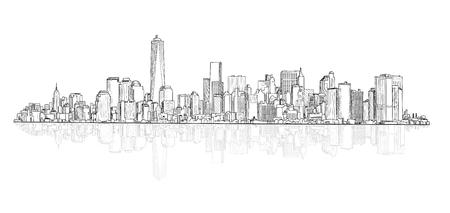 infraestructura: Edificios arquitectónicos. Ciudad vista panorámica. Ciudad boceto vector de la escena. Paisaje urbano urbano. Fondo del paisaje urbano Rascacielos con copia espacio.