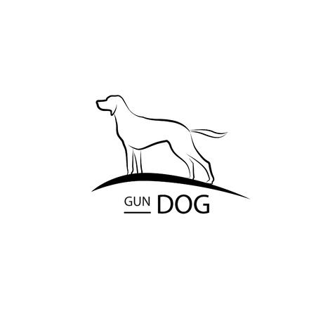 Dog symbol. Pet design. Gun dog standing silhouette Illustration
