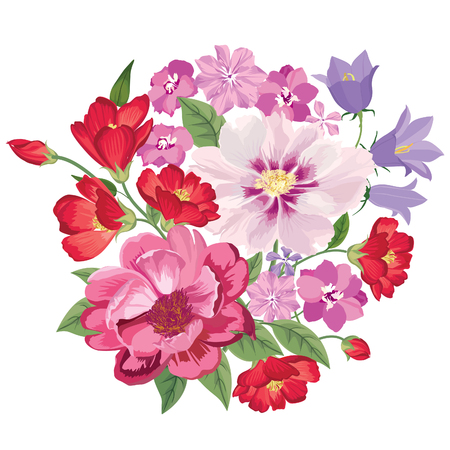ramo de flores: Ramo de la flor. Marco floral. Flourish tarjeta de felicitación. Blooming flores aisladas sobre fondo blanco Vectores