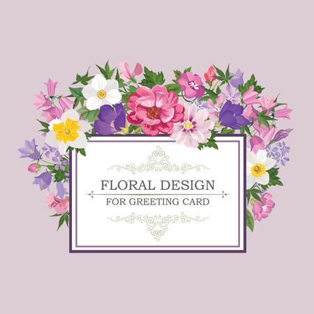 여름 꽃과 꽃 프레임. 꽃 꽃다발 패턴. 꽃과 빈티지 인사말 카드입니다. 수채화 테두리 번성. 꽃 배경입니다.