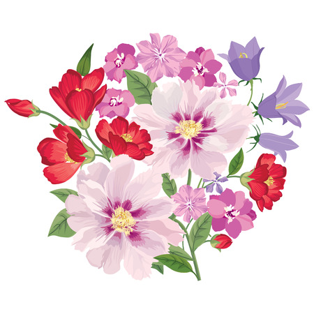 gentle background: Flower bouquet. Floral frame. Flourish greeting card. Blooming flowers isolated on white background