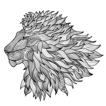 totem indien: Lion isol�. Illustration animale tir�e par la main zentangle