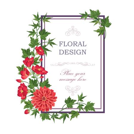 Bloemen frame met zomerbloemen. Bloemenboeket patroon. Vintage kaart met bloemen Groet. Aquarel floreren grens. Bloemen achtergrond.