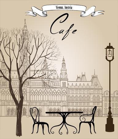 personas en la calle: Café de la calle en la ciudad vieja. Paisaje urbano - casas, edificios y árboles en callejón. Vista antigua de la ciudad. Medieval paisaje castillo europeo. Lápiz dibujado dibujo vectorial