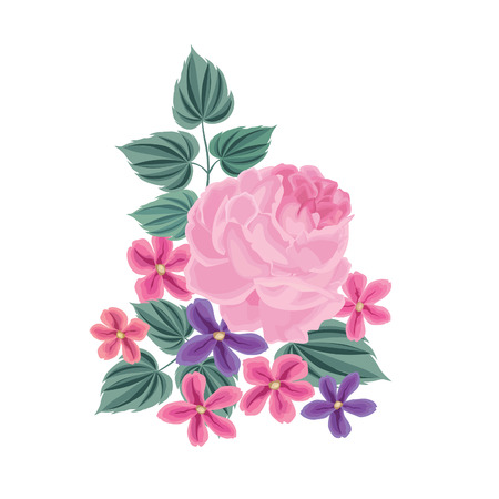 floral background: Flower bouquet. Floral frame. Flourish greeting card. Blooming flowers isolated on white background