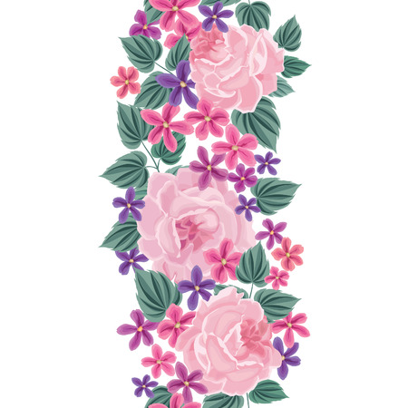 floral background: Floral seamless pattern. Flower border background. Floral tile spring texture with flowers.