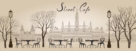 Café de la calle en el casco antiguo ilustración gráfica. Antiguo vistas COWN y cafés de la calle. Hora de restauración a lo largo de un callejón del guijarro Viena