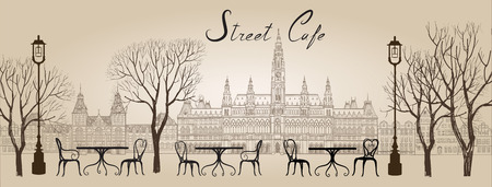 outdoor cafe: Street cafe in old town graphic illustration. Old cown views and street cafes. Dining hours along a Vienna cobblestone alley