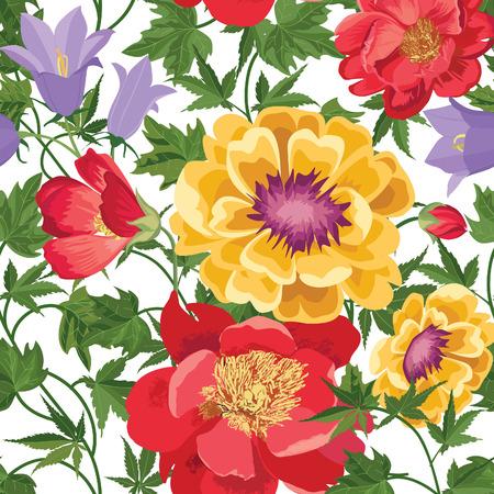 Bloemen naadloos patroon. Bloem achtergrond. Bloemen tegel spring textuur met bloemen. Voorjaar bloeien tuin Stock Illustratie