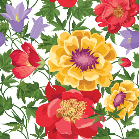 Floral seamless pattern. Flower background. Floral tile spring texture with flowers. Spring flourish garden Çizim