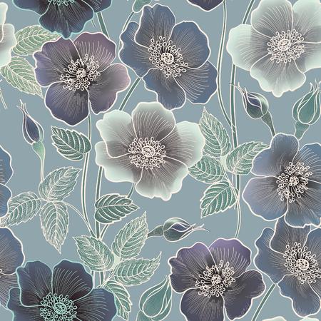 꽃 원활한 패턴입니다. 꽃 배경입니다. 꽃과 함께 꽃 타일 장식 질감. 봄 번창 정원 일러스트