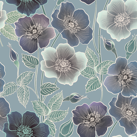 Floral seamless pattern. Flower background. Floral tile ornamental texture with flowers. Spring flourish garden Vettoriali