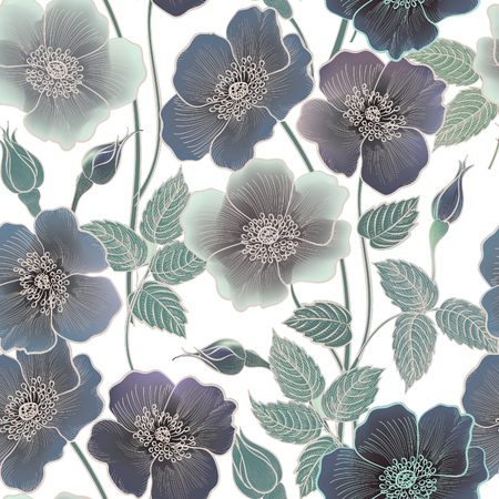 ornamental garden: Floral seamless pattern. Flower background. Floral tile spring texture with flowers Ornamental flourish garden cover for card design Illustration