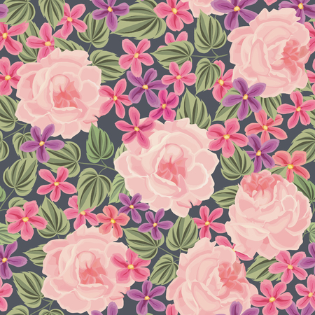 background frame: Floral seamless pattern. Flower background. Floral tile spring texture with flowers. Illustration