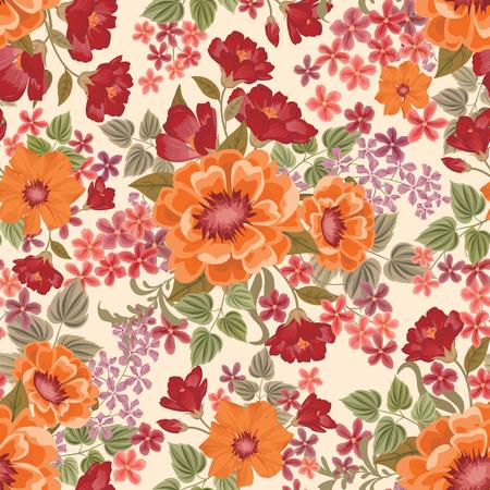꽃 원활한 패턴입니다. 꽃 배경입니다. 카드 디자인을위한 꽃 장식 번창 정원 커버와 꽃 실루엣 타일 봄 텍스처
