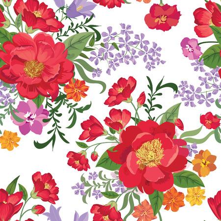 꽃 원활한 패턴입니다. 꽃 배경입니다. 꽃과 꽃 타일 봄 질감입니다. 봄 번창 정원 일러스트
