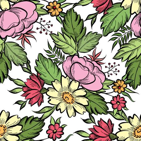 floral: Floral seamless pattern. Flower background. Floral tile spring texture with flowers Ornamental flourish garden cover for card design Illustration