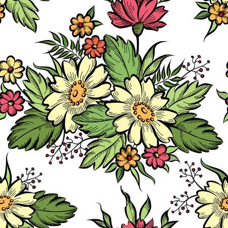 motif: Floral seamless pattern. Flower background. Floral tile ornamental texture with flowers. Spring flourish garden Illustration