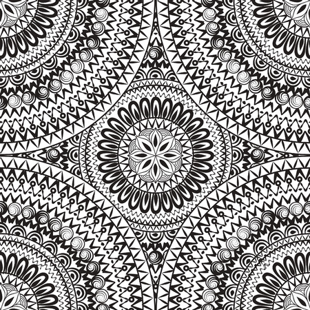 animal pattern: Abstract seamless pattern with circular ornament. Swirl geometric oriental doodle texture. Black and white engrave background. Illustration