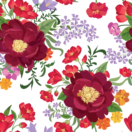 victorian pattern: Floral seamless pattern. Flower background. Floral tile spring texture with flowers. Spring flourish garden Illustration