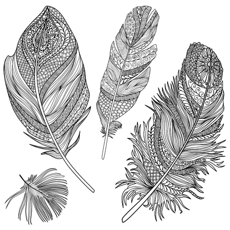 Feather set. Vector feathers on a white background. Vintage tribal feather collection. Series of doodle feather. Vettoriali