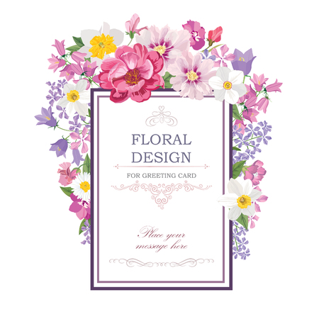 Floral frame with summer flowers. Floral bouquet with rose,  carnation and wildflower. Vintage Greeting Card with flowers. Ornamental decorative flourish border. Floral background. Illustration