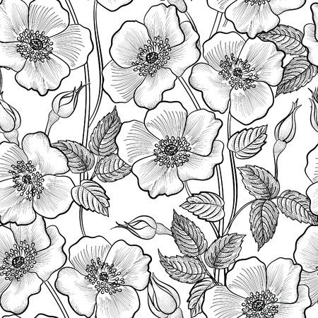 꽃 원활한 윤곽 스케치 패턴. 꽃 배경입니다. 카드 디자인을위한 꽃 장식 번창 정원 커버 꽃 타일 봄 텍스처 일러스트