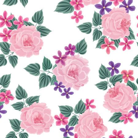 floral background: Floral seamless pattern. Flower background. Floral tile spring texture with flowers. Spring flourish garden Illustration