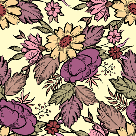 victorian pattern: Floral seamless pattern. Flower background. Floral tile fall texture with flowers Ornamental flourish garden cover for card design Illustration