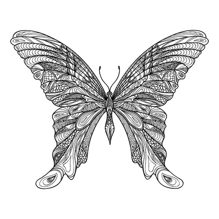 black butterfly: Butterfly isolated. Zentangle butterfly hand drawn sketch vector illustration. Decorative abstract doodle design element with pattern, suitable for a tattoo. Illustration