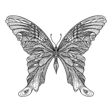 dessin noir et blanc: Papillon isolé. Zentangle main papillon dessiné croquis illustration vectorielle. Décoratif abstrait doodle élément de design avec un motif, approprié pour un tatouage.