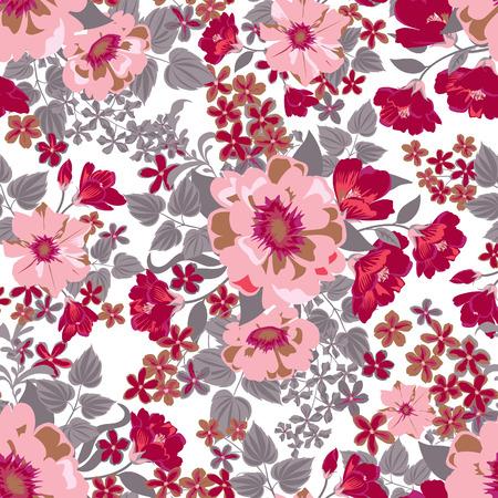 spring flower: Floral seamless pattern. Flower background. Floral tile spring texture with flowers Ornamental flourish garden cover for card design Illustration