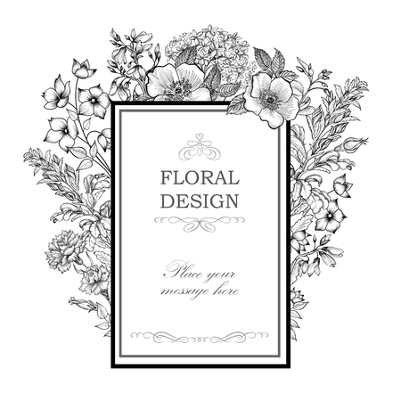 flower: Floral background. Flower bouquet vintage cover. Flourish card with copy space. Illustration