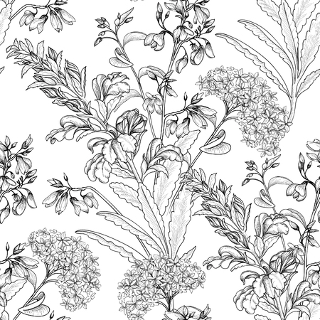 flower sketch: Floral seamless pattern. Flower background. Floral tile ornamental texture with flowers. Spring flourish garden Illustration