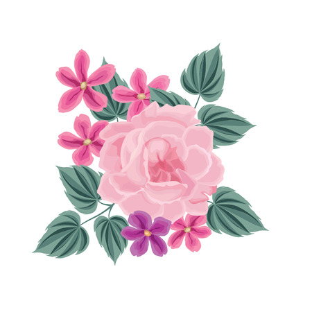 rose background: Flower bouquet. Floral frame. Flourish greeting card. Blooming flowers isolated on white background