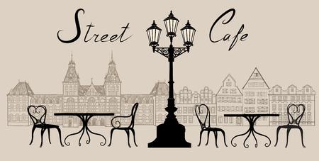 Koffie van de straat in de oude stad grafische illustratie. Oude cown uitzicht en straat cafes. Dineren uur langs een Wenen keisteeg