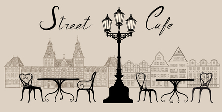 cobblestone: Street cafe in old town graphic illustration. Old cown views and street cafes. Dining hours along a Vienna cobblestone alley