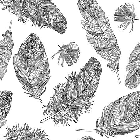 Feather seamless pattern. Vector feathers on a white background. Vintage tribal feather collection. Series of doodle feather. Illustration