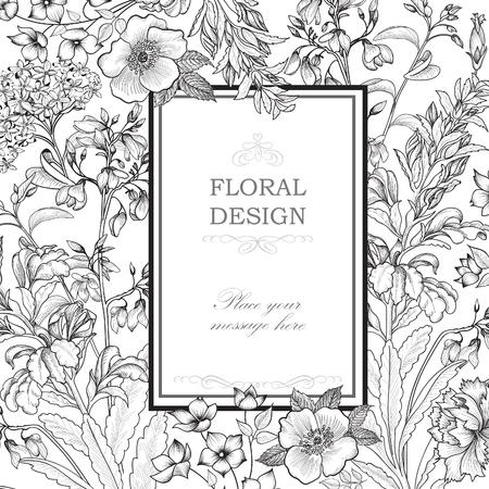 여름 꽃과 꽃 프레임. 장미, 카네이션과 야생화 꽃 꽃다발입니다. 꽃과 빈티지 인사말 카드입니다. 장식 장식 번창 테두리입니다. 꽃 배경입니다. 일러스트