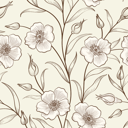 seamless floral pattern: Floral seamless outline sketch pattern. Flower background. Floral tile spring texture with flowers Ornamental flourish garden cover for card design