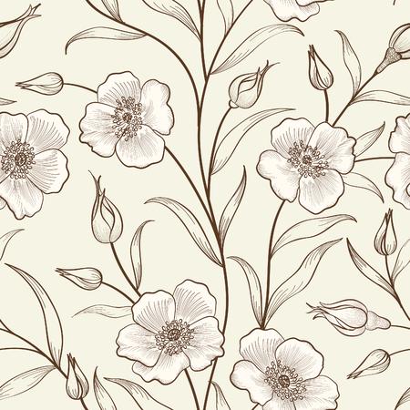 motif floral: modèle contour d'esquisse seamless floral. Fleur de fond. printemps floral carreaux texture avec des fleurs d'ornement couverture de jardin fleurir pour la conception de la carte