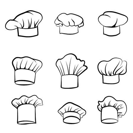 Sombrero de Cook. Dibujado cocinero cocinero sombrero. Sombrero de chef cocina. Vector sombrero negro cocinero en un fondo blanco
