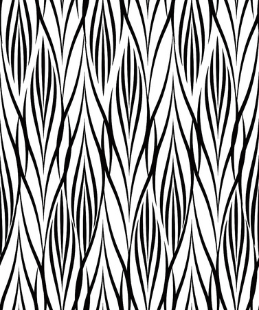 Abstract floral seamless pattern. Geometric line black ornament. Ornamental stylish background. Abstract stripe tile texture