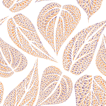 autumn motif: Floral leaves seamless pattern. Leaf textured background. Ornamental flourish tiled texture Illustration