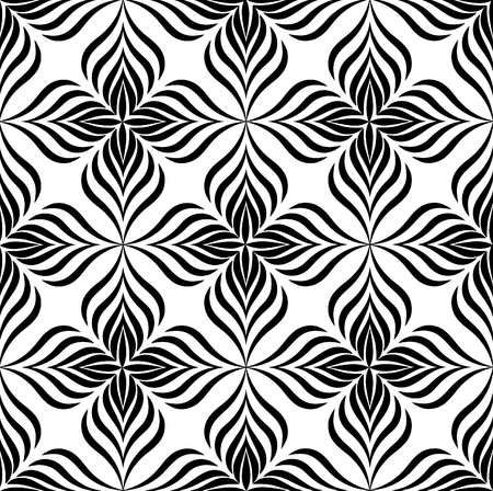 line pattern: Abstract floral seamless pattern with black and white line ornament Swirl geometric doodle texture. Ornamental wave optical effect background. Illustration